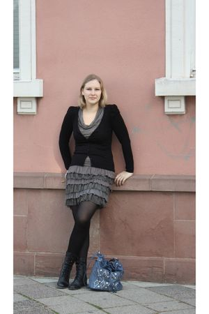 black Promod cardigan - gray Promod dress - black kunert tights - black Akira bo