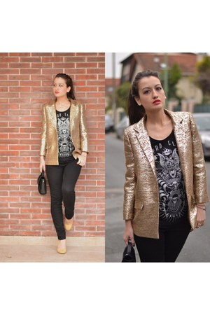 gold blazer Dress Gallery jacket - nude and gold shoes