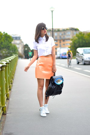 orange Missguided skirt - white cotton Missguided shirt