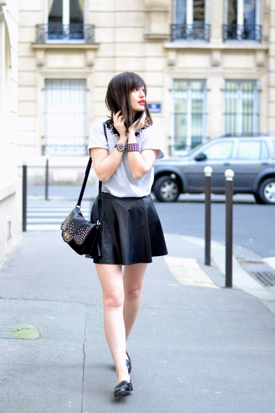 black leather Lancaster bag - black pleather Pimkie skirt