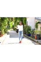 white Suncoo jumper - Tally Weijl jeans - blue floral Manoush bag