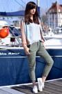 Green-zara-jeans-bue-silk-dress-gallery-jacket-pale-blue-h-m-jumper