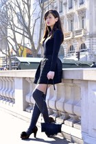 navy blue Manoush skirt - brown and black Chie Mihara shoes