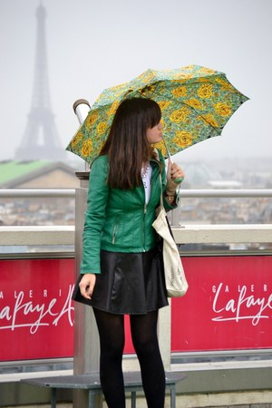 faux leather Pimkie skirt - green pleather unknown brand jacket - Zara t-shirt