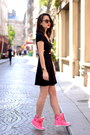 Black-jersey-h-m-dress-floral-print-manoush-jacket