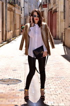 gold Dress Gallery jacket - black leather Zara leggings - white H&M shirt