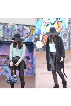 shaggy black Manoush coat - floppy hat hat - H&M hat - blue flowers Manoush bag