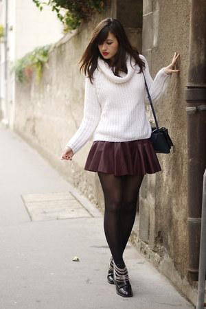burgundy Bershka skirt - Zara boots - white Bershka jumper