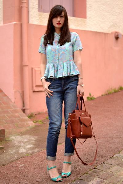 blue silk Dress Gallery shirt - blue denim Pimkie jeans