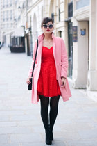 red lace Chi Chi dress - pink hoss intropia coat