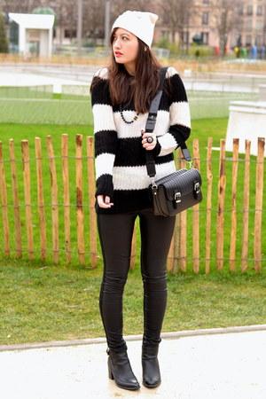 black leather Zara boots - pink H&M hat - black pleather Zara leggings