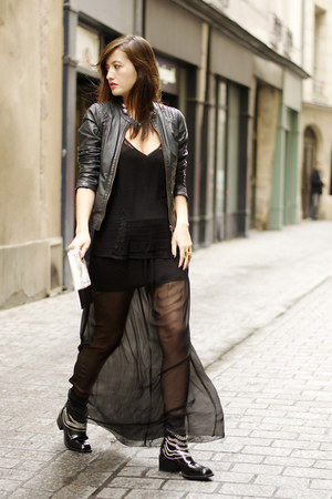 sheer black Lulu Yasmine skirt - Zara boots - blue and white She She Bon Bon bag