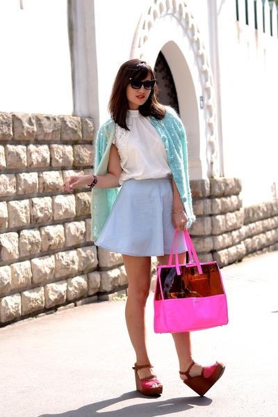 neon pink Kate Lee bag - light blue Manoush cardigan - blue denim Pimkie skirt