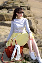 yellow vichy Manoush skirt - whitle silk Esther Bonte scarf
