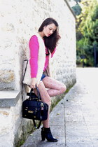 sheep style H&M vest - Pimkie boots - black asos bag - denim asos shorts