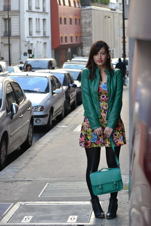 flower power H&M dress - Pimkie boots - unknown brand jacket - monoprix bag