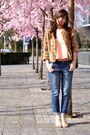 Blue-pimkie-jeans-brown-fur-manoush-jacket-coral-pimkie-top