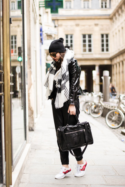 shiny black style moi jacket - balenciaga bag - black ASAP Paris pants