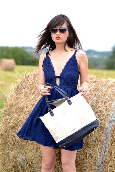blue Danity dress - white and blue Kate Lee bag - blue dior sunglasses