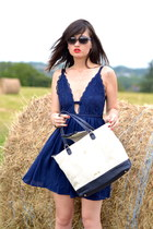 blue Danity dress - white and blue Kate Lee bag - blue dior sunglasses