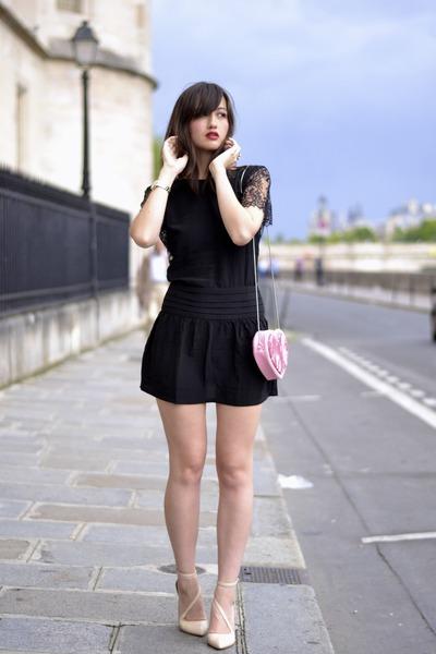 pink heart H&M bag - black silk Lulu Yasmine dress - shiny nude Zara heels