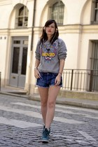 grey jersey Kenzo sweatshirt - blue denim H&M shorts - green nike sneakers