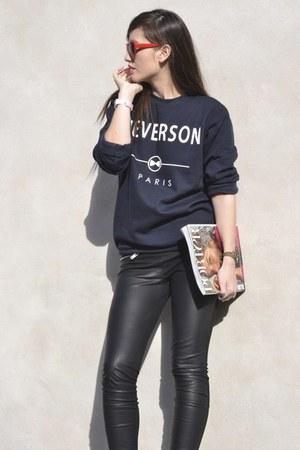 blue sweat Neverson sweater - Zara leggings