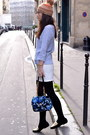 Gold-leather-manoush-coat-nordbron-hat-blue-floral-manoush-bag