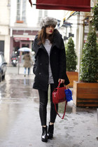 black LA City coat - black patent new look boots - black leather Zara leggings