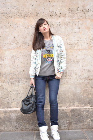 Kenzo Paris jumper - J Brand jeans - Zara jacket - Manoush sneakers