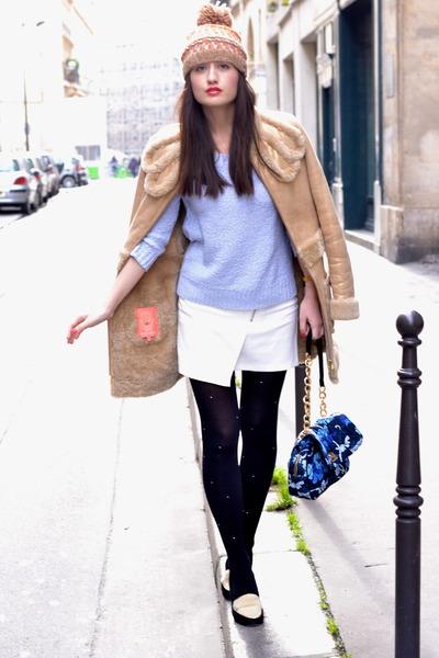 gold leather Manoush coat - Nordbron hat - blue floral Manoush bag