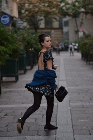 Dress Gallery dress - vintage bag - Dress Gallery cardigan - Zara flats
