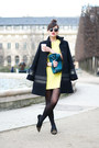 Neon-yellow-zara-dress-blue-wool-axara-coat