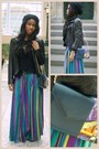Black-maxi-skirt-guess-jacket-mefie-bag-navy-leather-jacket-mefie-bag