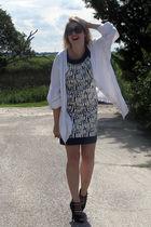 black vintage sunglasses - white thrifted shirt - blue BCBG dress - black Bakers