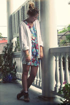 white thrifted shirt - blue thrifted dress - gold accessories - pink vintage soc