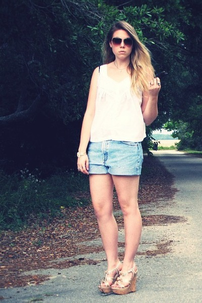brown Kenneth Cole sunglasses - white thrifted blouse - blue Levis shorts - gold