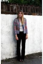 blue vintage jacket - white bcbg max azria top - blue Gap jeans - black Bakers s