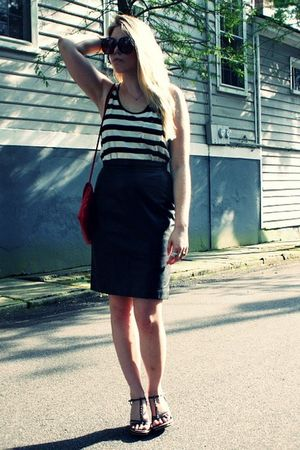 black vintage sunglasses - white Target top - black vintage skirt - red vintage