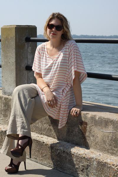 off white H&M shirt - dark brown Target sunglasses - tan Target pants - dark bro