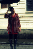 red random boutique coat - red Hanes dress - black Forever 21 leggings - black H