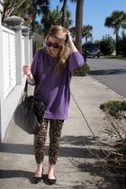 black vintage sunglasses - purple H&M sweater - brown Walmart leggings - brown T