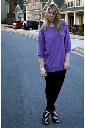 purple H&M shirt - black H&M leggings - black Bakers shoes - gold accessories