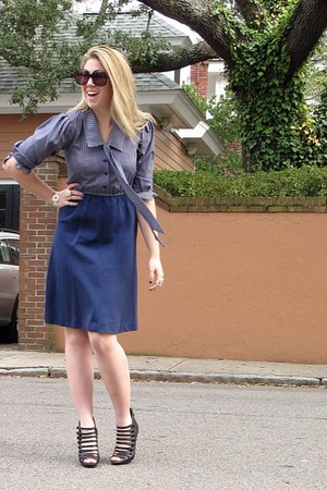 blue vintage dress - black vintage sunglasses - black Bakers shoes