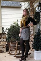 black Kenneth Cole shirt - gold H&M scarf - black Forever 21 shorts - brown Bake