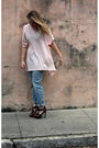 White-h-m-shirt-blue-h-m-jeans-gold-boutique-bracelet-brown-bakers-shoes