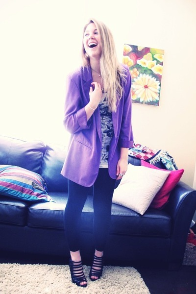 purple vintage blazer - white H&M top - black Forever 21 leggings - black Bakers