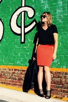 black Gap t-shirt - red Marysia SWIM skirt - black Target jacket - black vintage