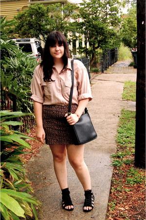 beige vintage silk blouse - black vintage bag coach bag