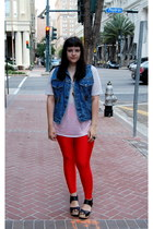 red American Apparel leggings - blue studded vintage vest
